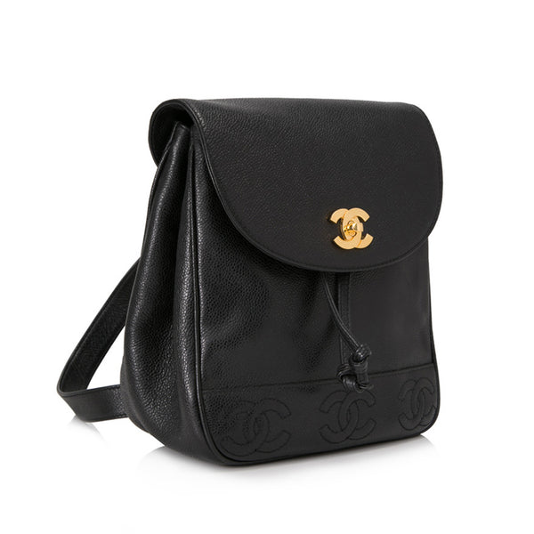 Black Caviar Leather Backpack