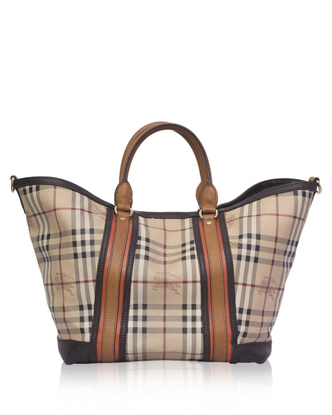 Beige Check Tote Bag