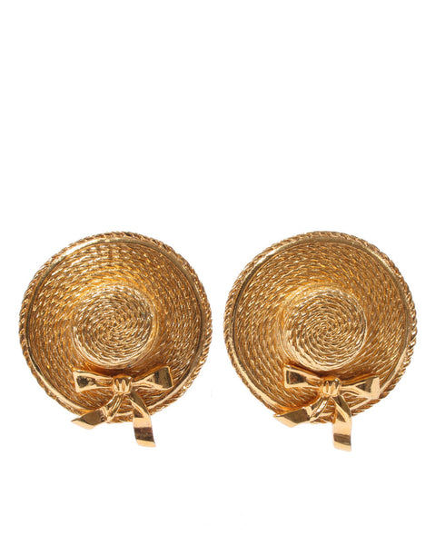 Gold Vintage Hat Earrings