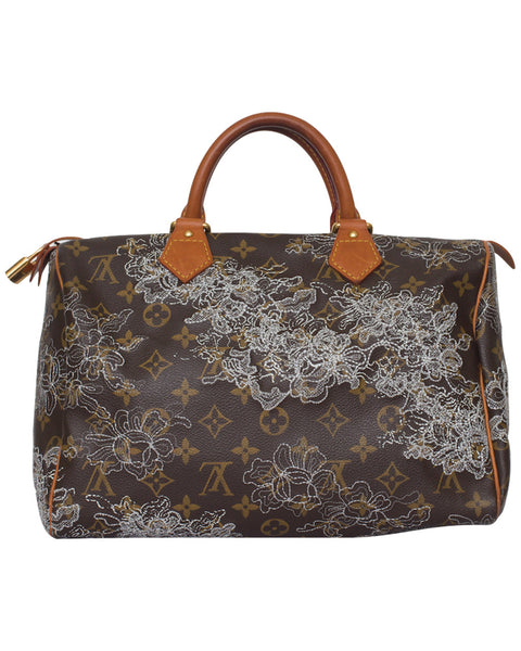 Brown Dentelle Speedy 30 Bag