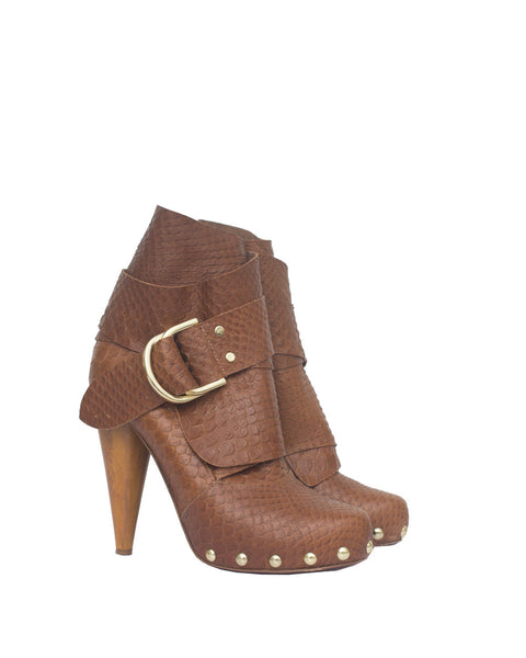 Tan D-Ring Python Boots