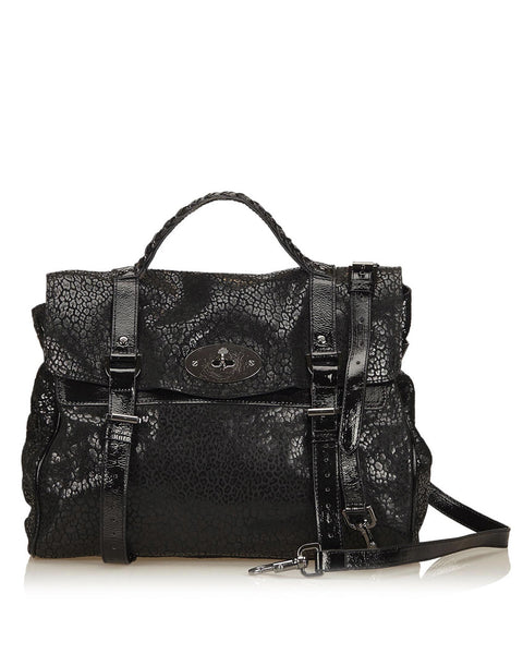 Black Cracked Leather Oversized Alexa Bag