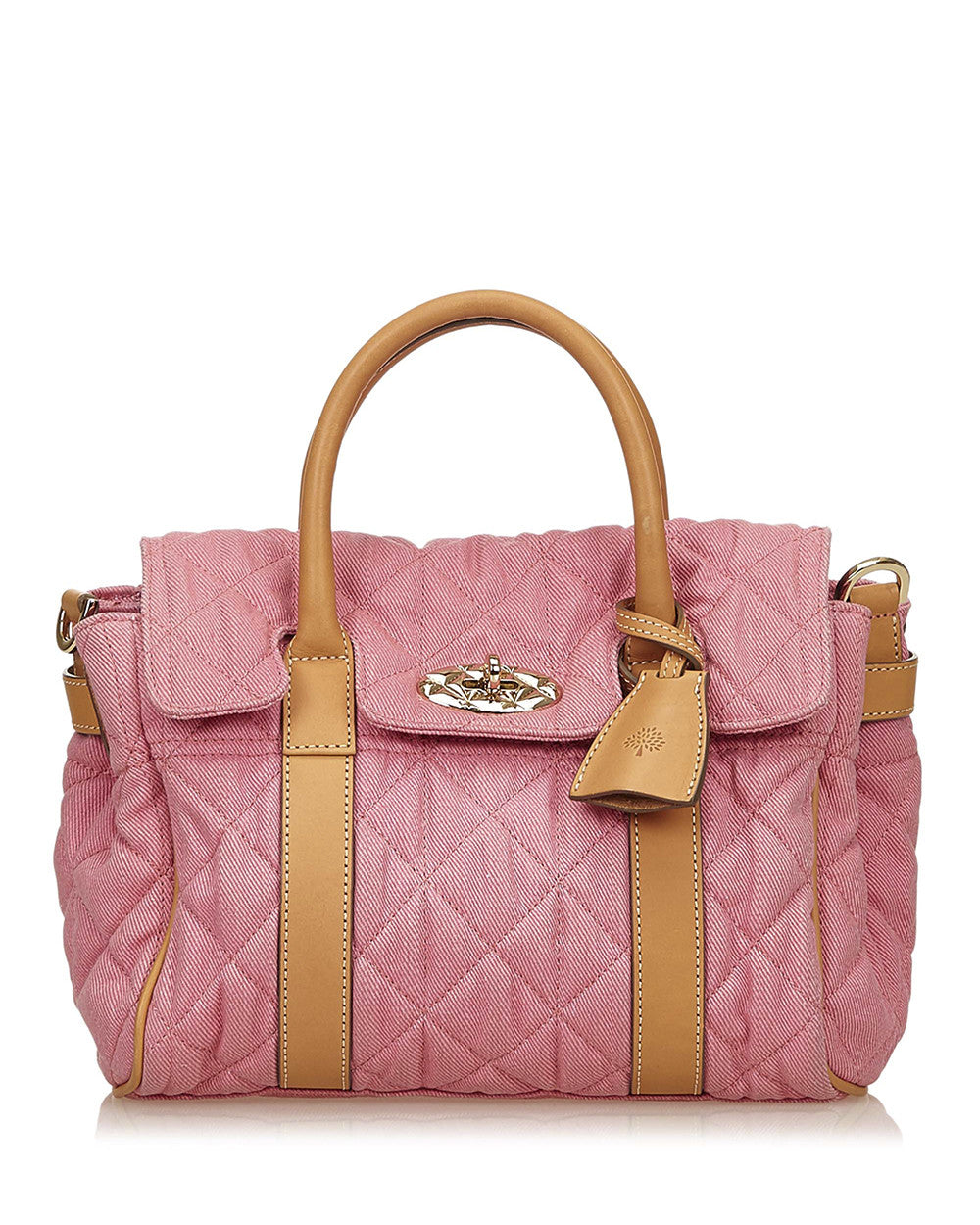 Pink Quilted Denim Bayswater Bag
