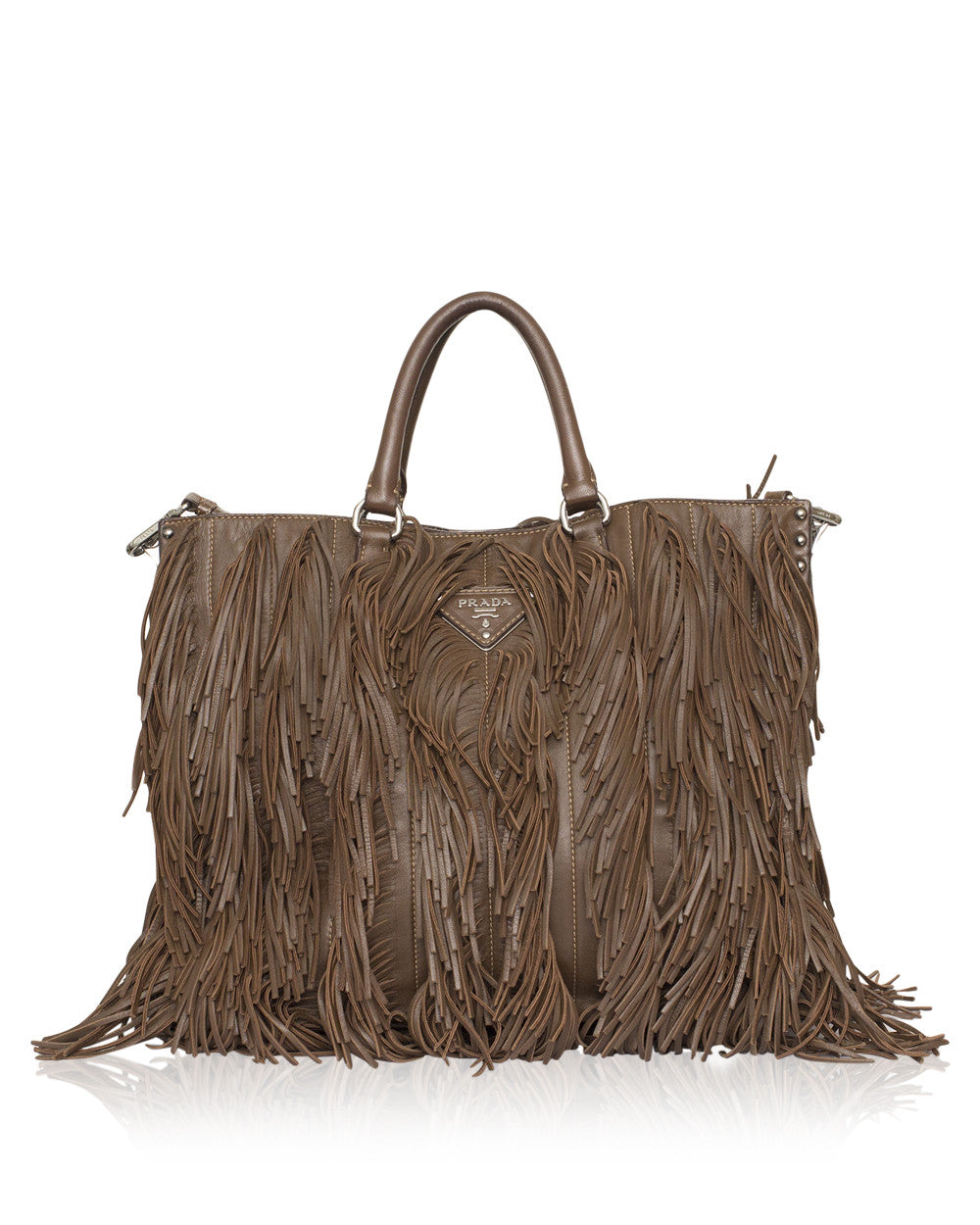 Brown Nappa Fringe Tote Bag