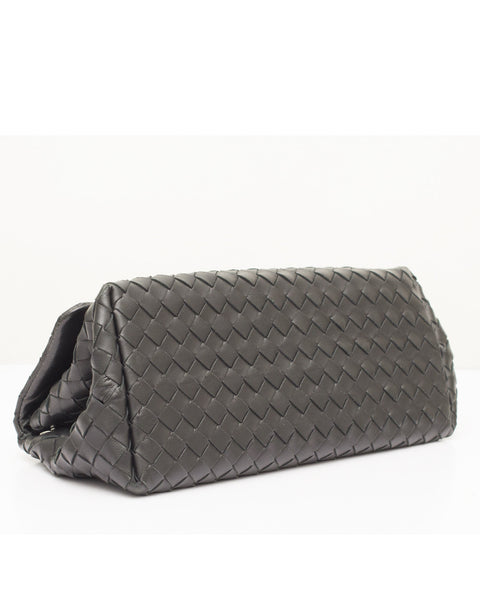 Black Leather Trapeze Clutch