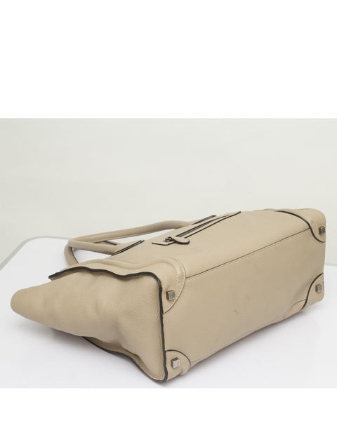 Beige Mini Luggage Tote Bag