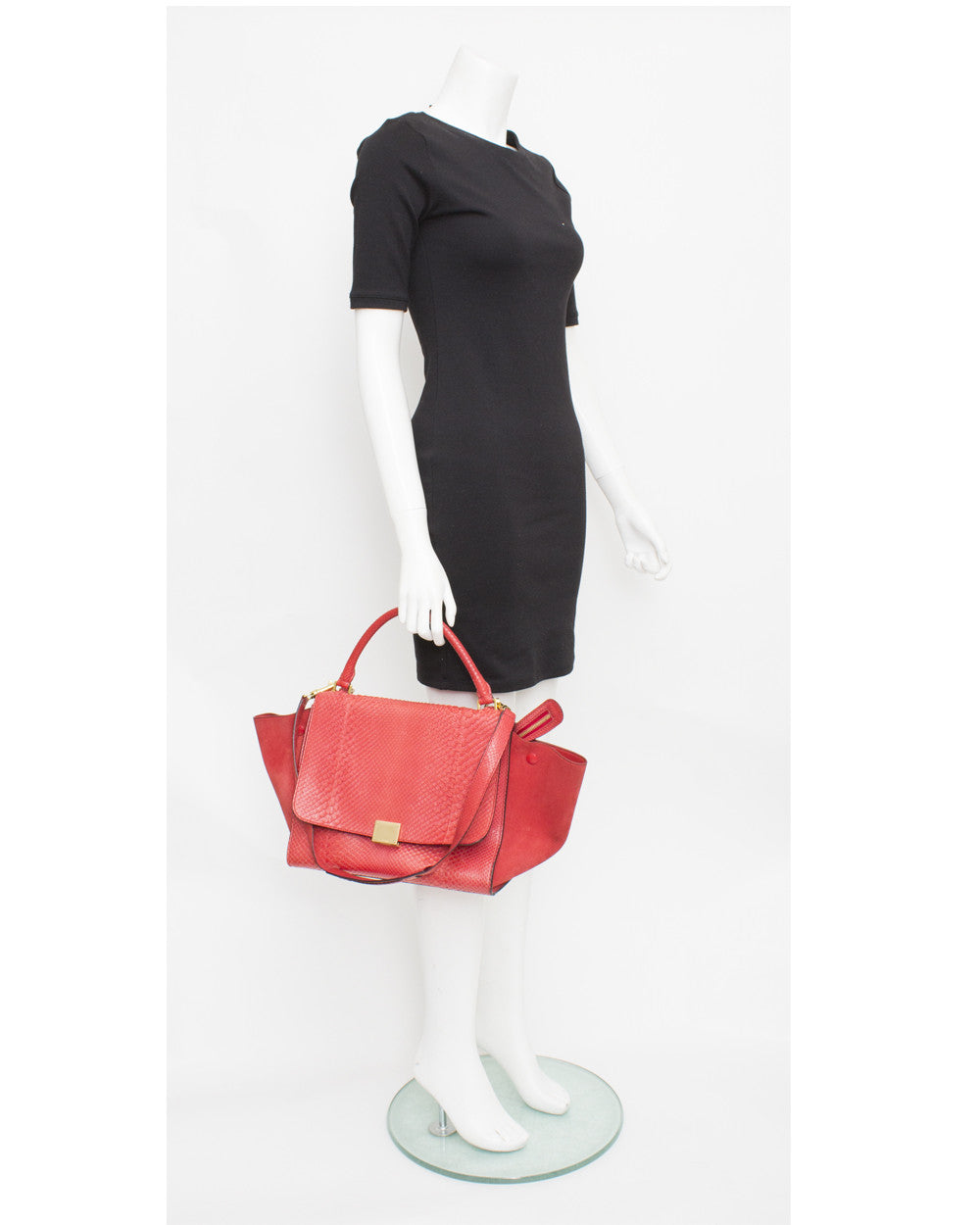 Red Python Medium Trapeze Bag