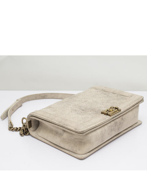Taupe Distressed Suede Large Boy Bag
