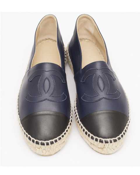 Navy Leather Espadrilles