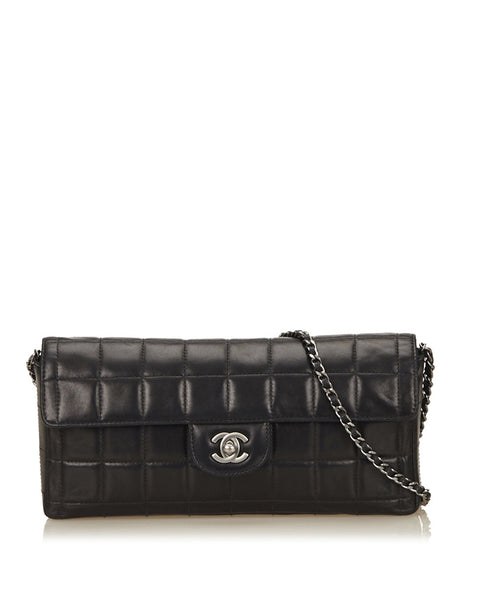 Black E/W Lambskin Chocolate Bar Flap Bag