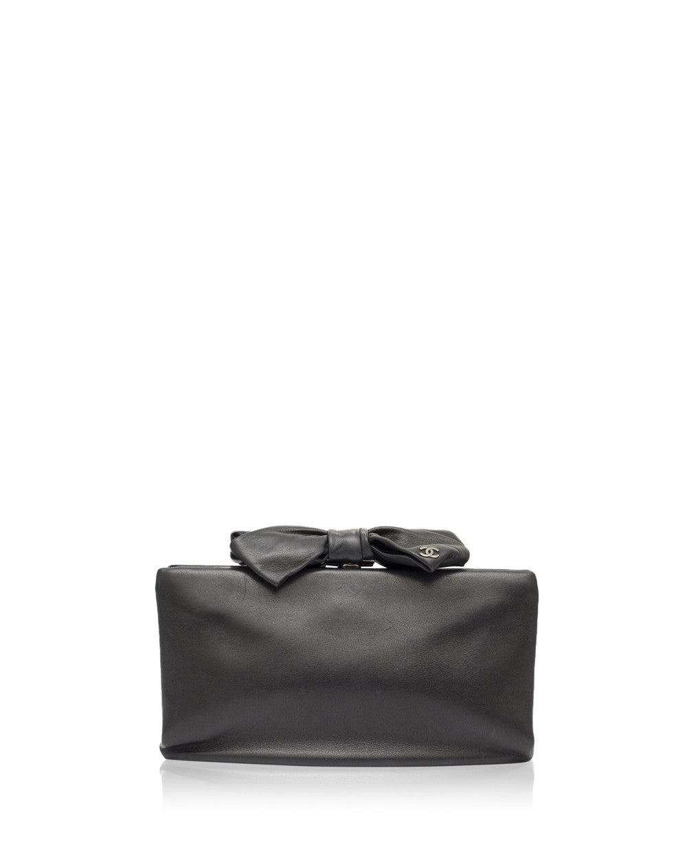 Black Leather Bow Clutch