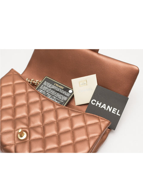 Bronze Leather Quilted Flap Clutch Bag