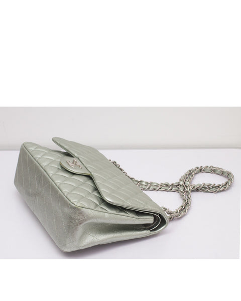 Metallic Green Jumbo Classic Flap Bag