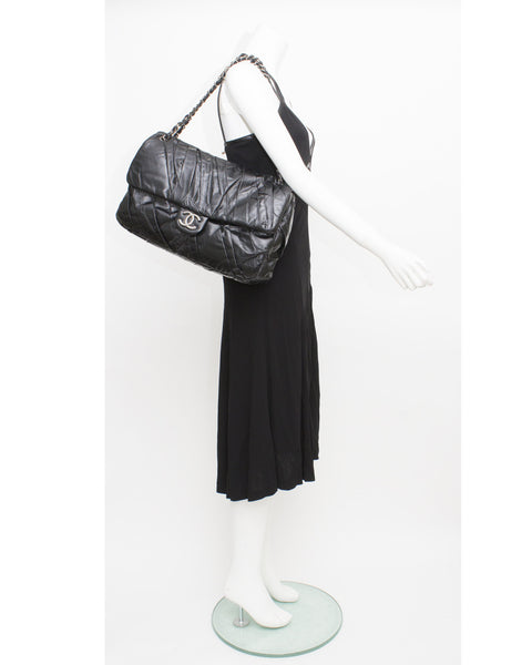 Black Lambskin Leather Jumbo Flap Bag