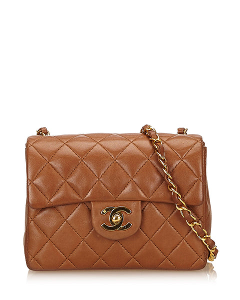 Brown Mini Matelasse Lambskin Leather Bag