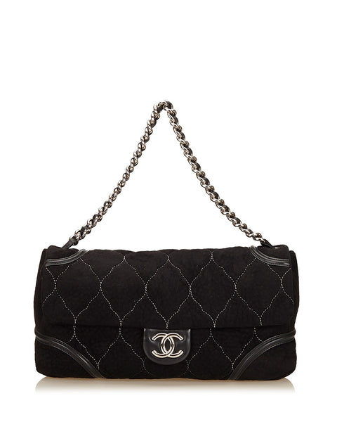Black Nubuck Flap Bag