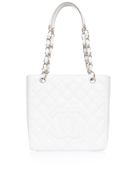 White Chanel Petite Shopping Tote