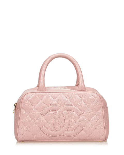 Pink Quilted Boston Bag