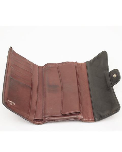 Black Leather Flap Wallet
