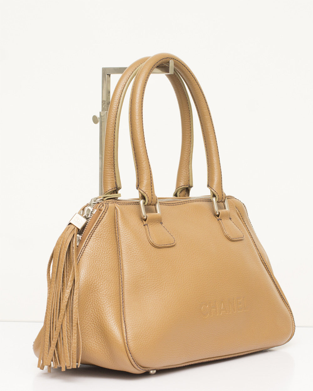 Vintage Tan Tassel Tote Bag