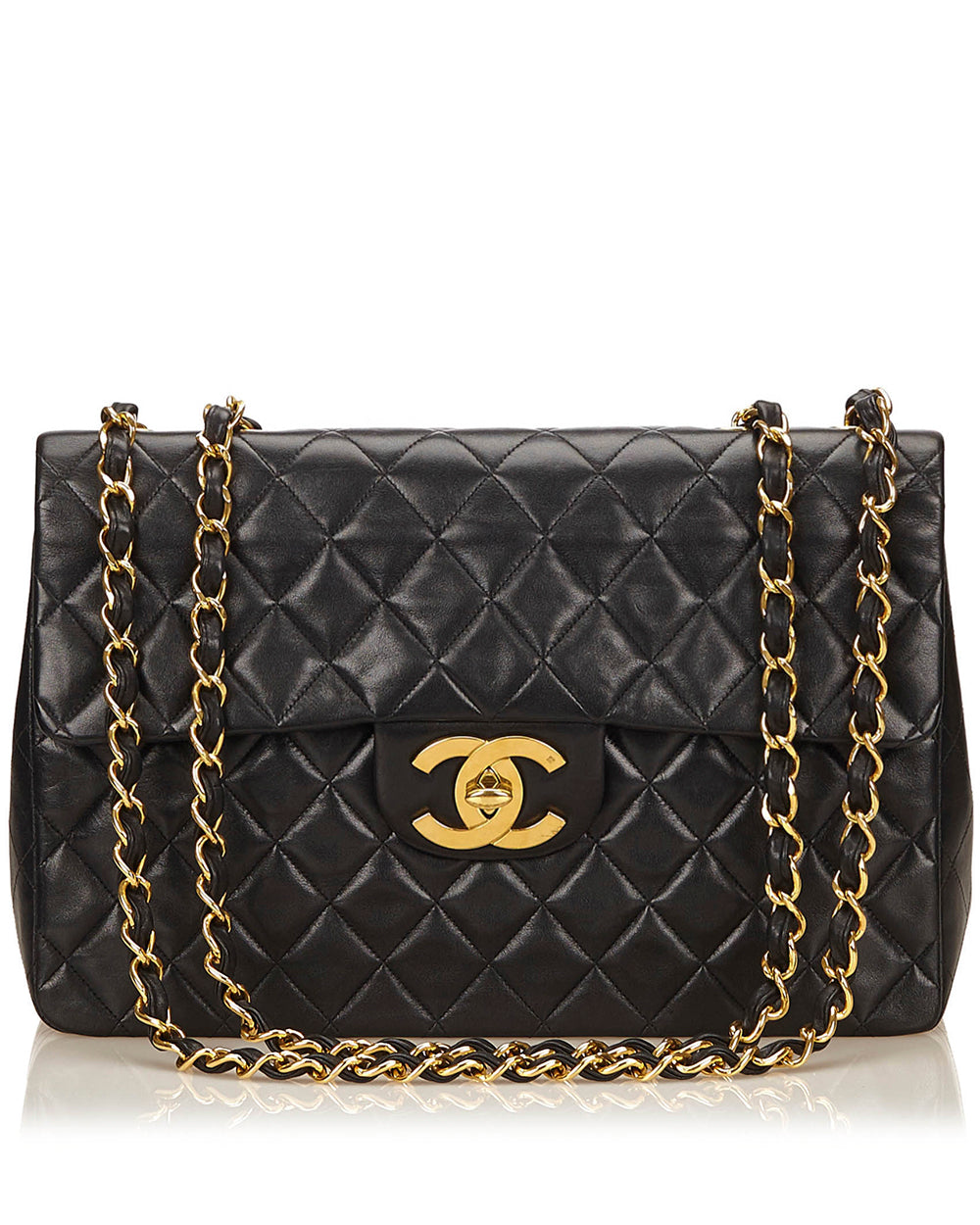 4f19a2c65fc6 Vintage Chanel Black Maxi Jumbo Lambskin Classic Flap Bag – High ...