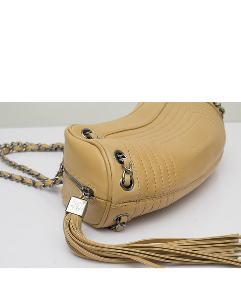 Beige Lambskin Leather Tassel Bag