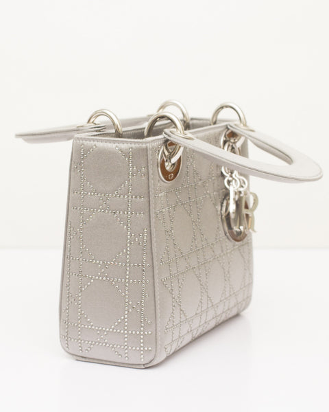Grey Swarovski Micro Lady Dior Bag