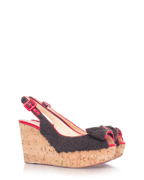 Black Helicola Towel Cork Wedge Sandals