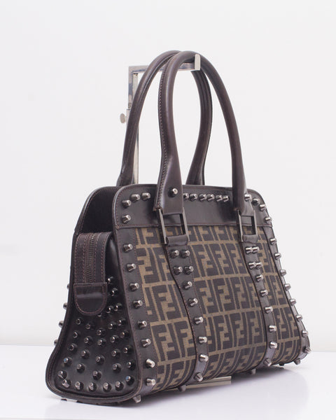 Brown Borsa Due Manici Zucchino Studded Bag