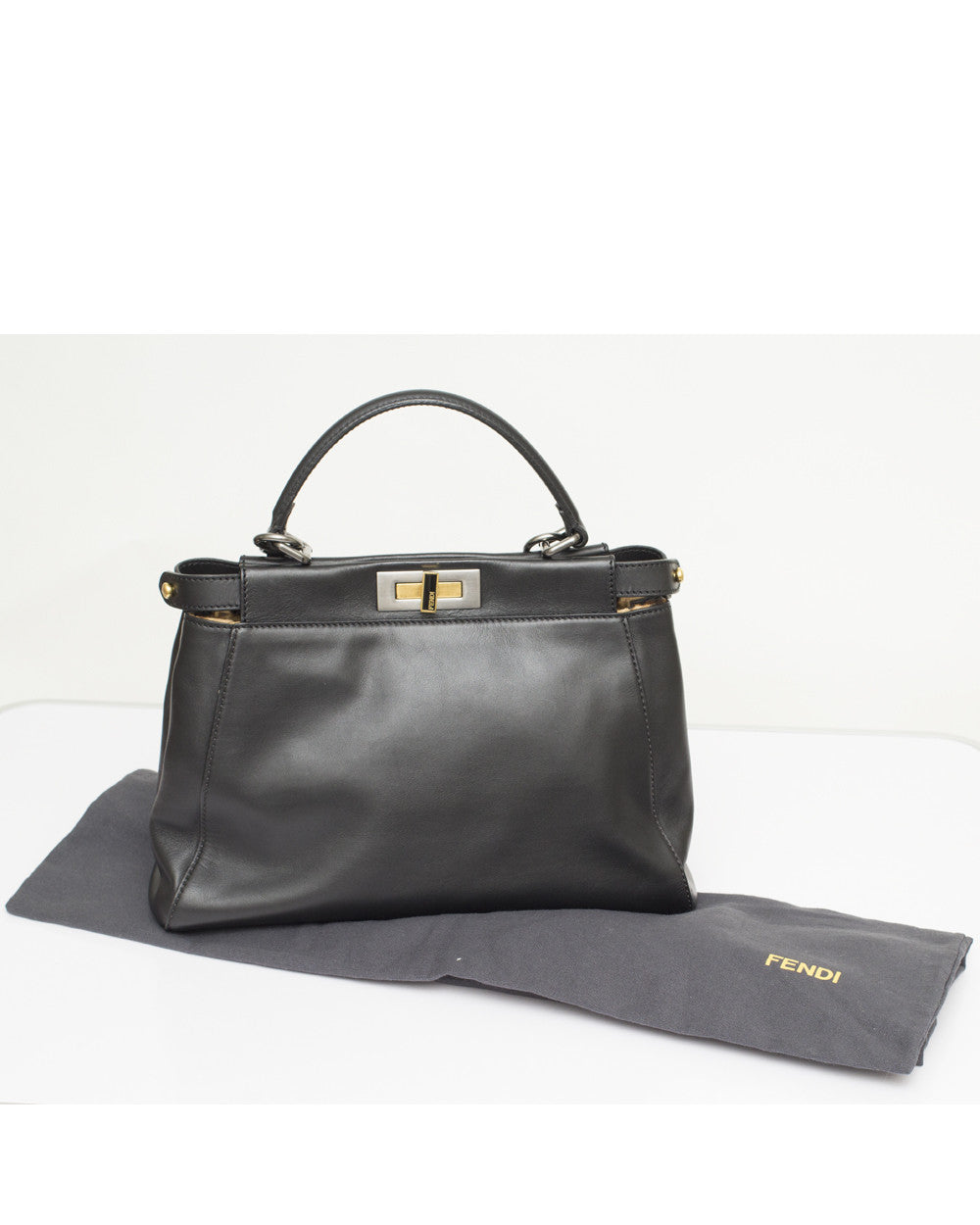 Black Peekaboo Bag with Leopard Lining