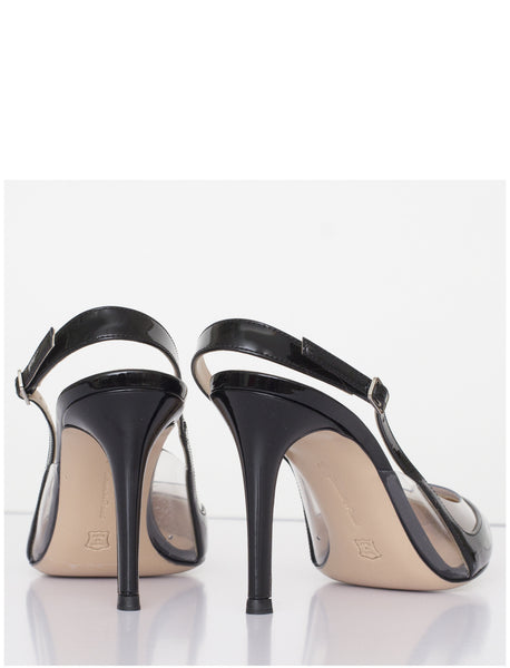 Black Patent Sling Back Pumps