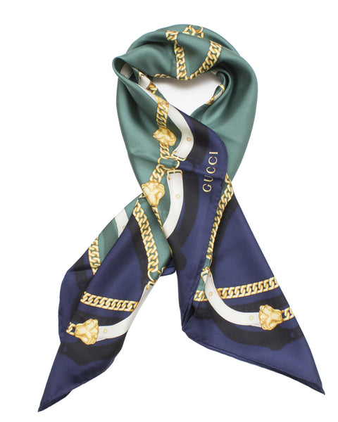 Blue Silk Chain Print Scarf
