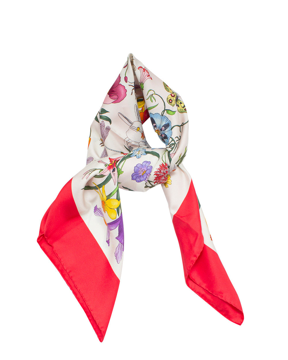 Los Angeles 1d756 5d7d7 Gucci Flora Silk Printed Foulard Scarf | Red – High Fashion ...