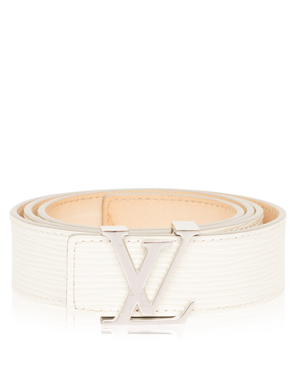 White LV Initiales 35mm Epi Leather Belt