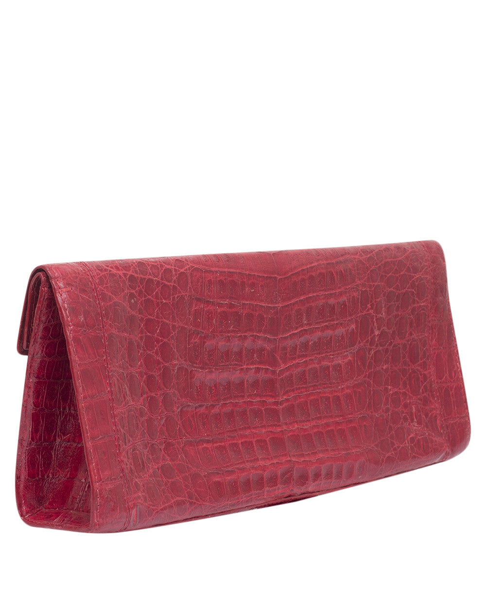 Red Crocodile Skin Clutch Bag