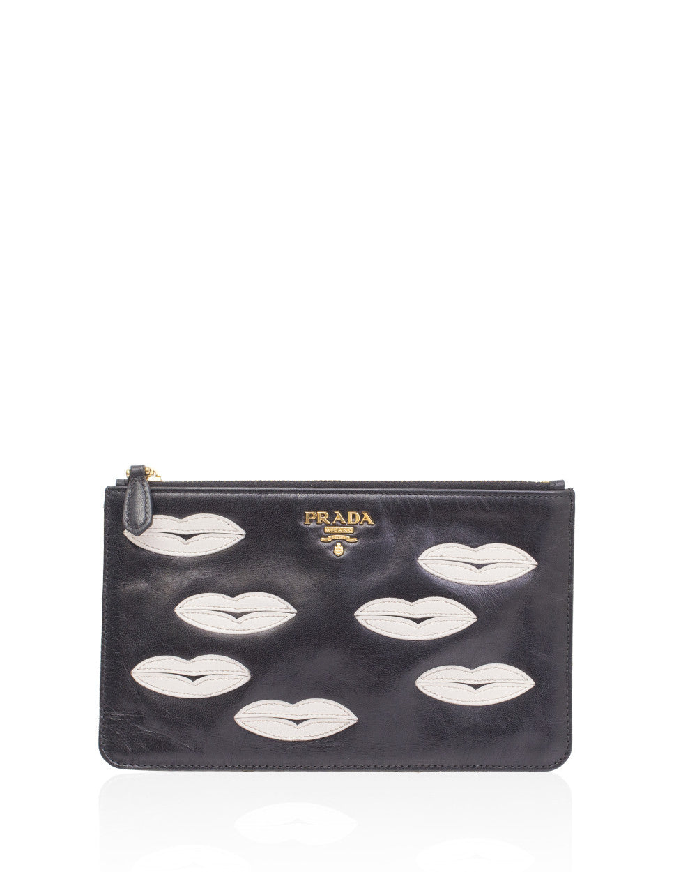 Black Leather Lips Pouch Bag