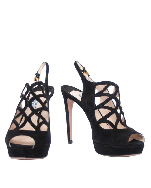 Prada Black Suede Sandals