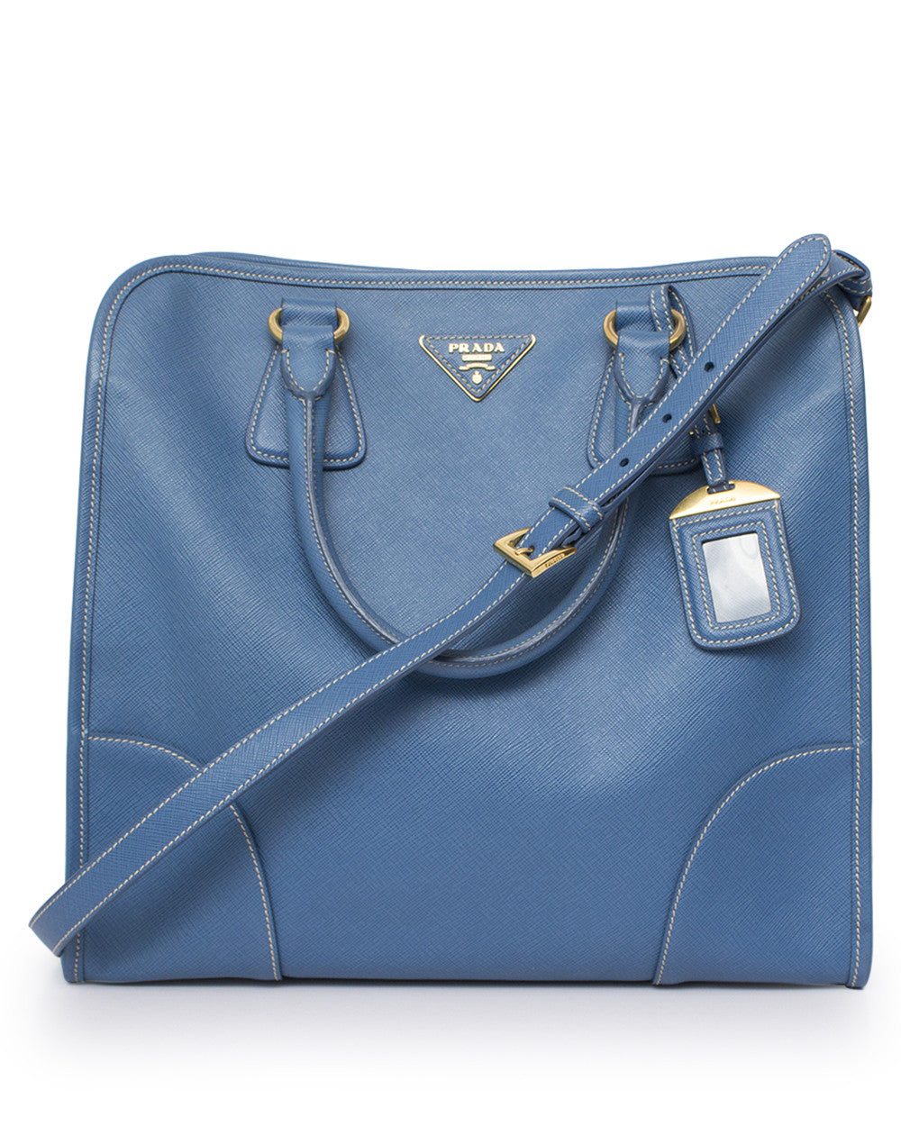 Blue Saffiano Tote Bag