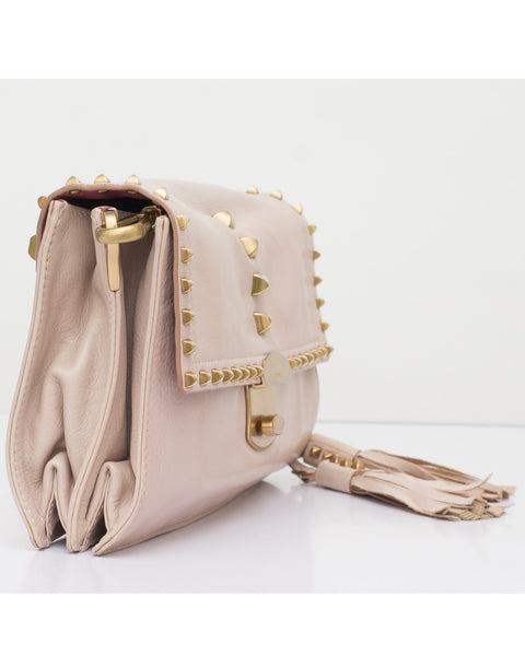 Nude Pink Stud Shoulder Bag