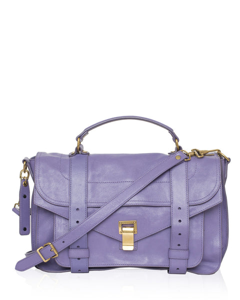 Purple PS1 Medium Leather Satchel Bag