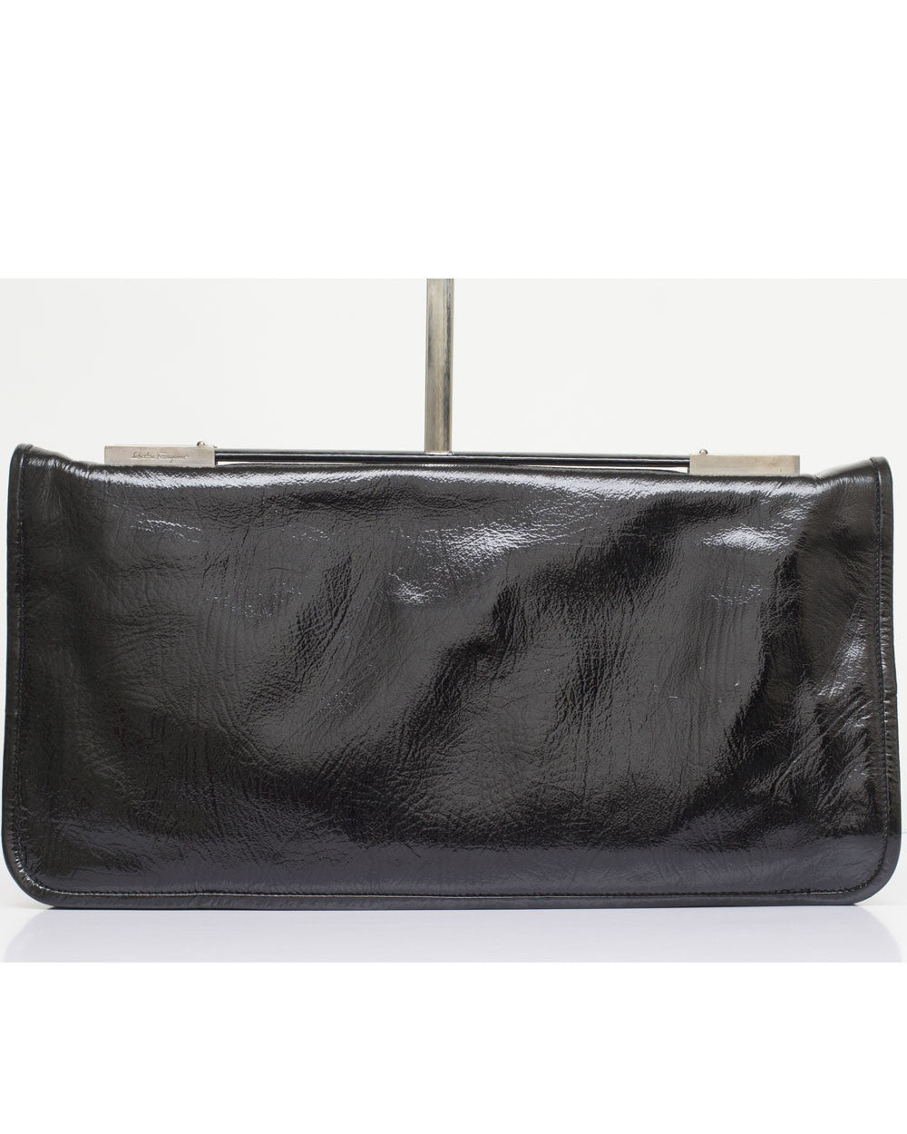 Black Patent Oversized Clutch Bag