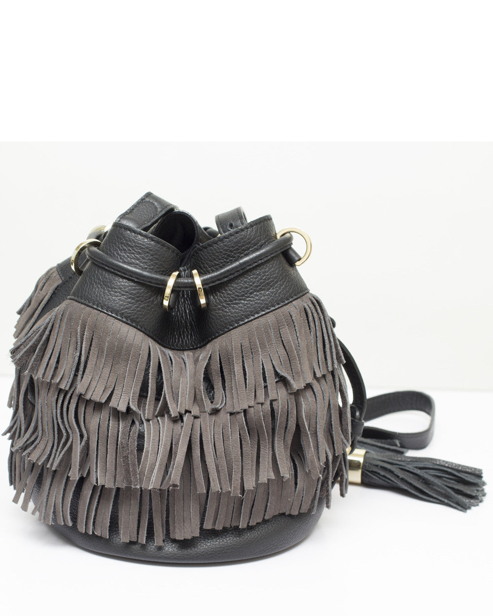 Graphite Viki Fringe Bucket Bag