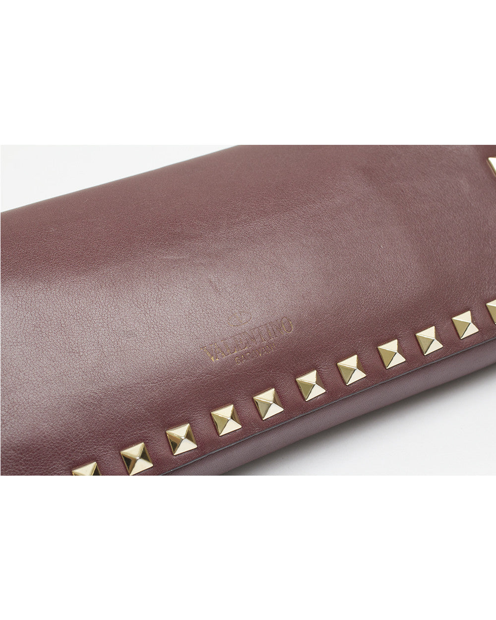 Burgundy Rockstud Clutch Bag