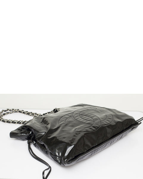 Black Patent Leather Shopping Tote Bag