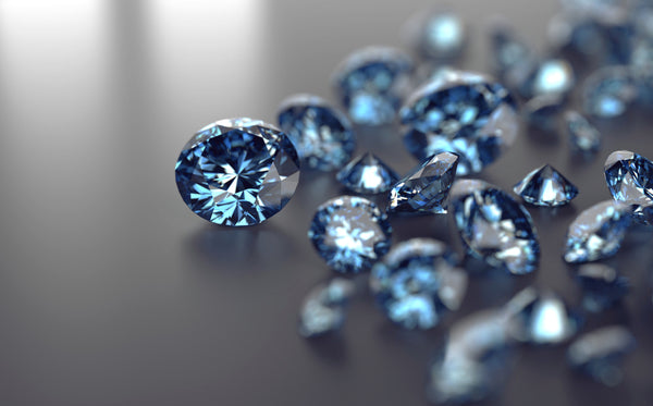 Blue diamonds placed on black background