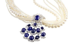 1950's Sapphire and Pearl Necklace