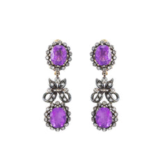 Victorian Silver Diamond Amethyst Earrings