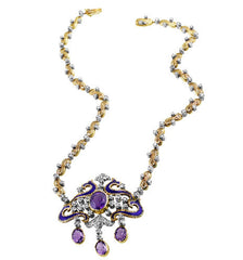Victorian Silver Diamond Amethyst Necklace