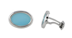 White Gold Turquoise Oval Cufflinks