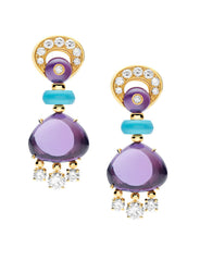 Bulgari Mediterranean Eden Yellow Gold Amethyst Turquoise Earrings 346344